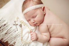 Braylee - Cream Ivory White Lace Pearls Halo Headband - Baby Infant Newborn Girls Adults - Photo Prop - Wedding Baptism  $16.00