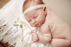 Braylee - Cream Ivory White Lace Pearls Halo Headband - Baby Infant Newborn Girls Adults - Photo Prop - Wedding Baptism  $16.00