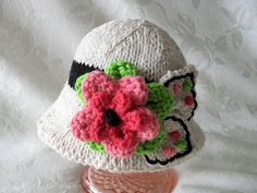 Knitted Brimmed Baby Girl Hat Luscious Flower by CottonPickings
