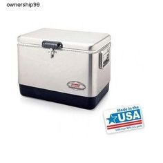 Coleman Stainless Steel Cooler 54 Quart Ice Chest Tailgating Camping 85 Can New #Coleman