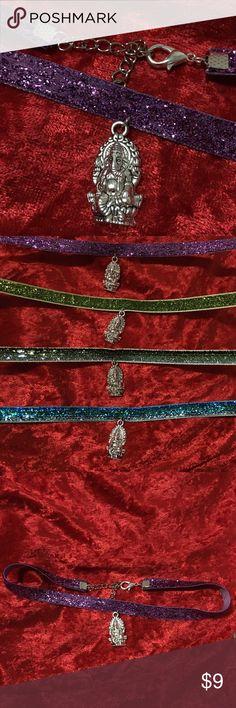 गणेश Gaṇeśa glitter choker necklace गणेश Gaṇeśa glitter choker  Awesome Ganesha Elephant Charm Choker  Pick one when ordering   Purple lilac glitter holographic choker Green lime holographic choker Green ombré holographic glitter choker Blue ombré holographic glitter choker  Also available in a black velvet or thin suede   Tags #Ganesha #hindu #wisdom #prosperity #attainment #elephant #om #yoga #Buddhist #success #wealth #indie #boho #bohemian #festival #jewelry #choker #necklace #glitter…