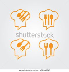 Chef Talk logo concept with chef hat icon. Logo for cooking, cafe communication and menu. Chef forum with chat speech bubble. Fork Spoon Knife Icon Set. Food Talk . - stock vector