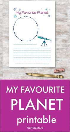 My Favourite Planet journal page printable - Space theme language arts activities, space writing prompt