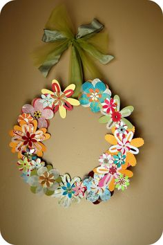 Paper Flower Wreath (How-To) Macy-Taber & Neal, I have the die cut machine & dies to make this wreath! And although I've never tried, it will cut fabric too! Want fantastic tips on arts and crafts? Paper Flower Wreaths, Flower Crafts, Paper Flowers, Floral Wreath, Diy Flower, Flower Ideas, Cut Flowers, Cute Crafts, Craft Projects