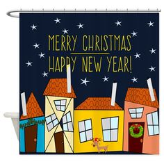 Celebrating Christmas in the neighborhood - Holiday shower curtain Celebrating Christmas, Merry Christmas And Happy New Year, Holiday Shower Curtains, Special Day, The Neighbourhood, Halloween, Holiday Decor, Design, The Neighborhood