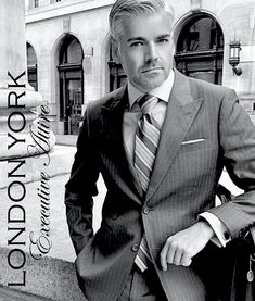 I understand & wish to continue: Photo Suit Fashion, Mens Fashion, Silk Handkerchief, Bespoke Suit, Savile Row, Black And White Style, Professional Look, Sharp Dressed Man, Older Men