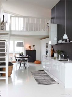 White + black wall - kitchen + dining