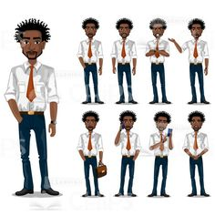 Nice Vector Young Trader Vector Character Set #illustration #vector #character