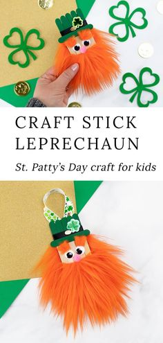 Learn how to make a fun popsicle stick leprechaun craft with our step-by-step directions and video tutorial. It's the best St. Patrick's Day craft for kids! Popsicle Stick Crafts, Popsicle Sticks, Craft Stick Crafts, Preschool Crafts, Craft Ideas, Daycare Crafts, Diy Ideas, St Patricks Day Crafts For Kids, St Patrick's Day Crafts