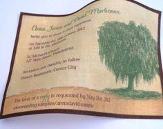 Invito a nozze rustiche, Willow Tree invito a nozze, matrimonio verde, natura nozze, nozze fienile, juta e verde {25}