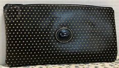 """Stk#Edl 19095i S177. This bag stands 4"""" tall x 7.25"""" wide. Yellow Fashion, Black N Yellow, Dooney Bourke, Cosmetic Bag, Im Not Perfect, Pouch, Slim, Cosmetics, Leather"""