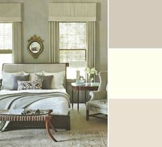 """Neutrals You Can Pair with Metal Accents"" via House & Home Source: Sloan Mauran Interior Design (bedroom) Products: From top: Elephant's Breath (229); Pointing (2003); Dimity (2008), all Farrow & Ball. Designer: Sloan Mauran (bedroom)"