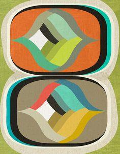 mid century design art print por poolponydesign