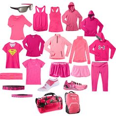 """""""ALL the pink..."""" by kerriolkjer on Polyvore #whatsbeautiful #iwill @Under Armour"""