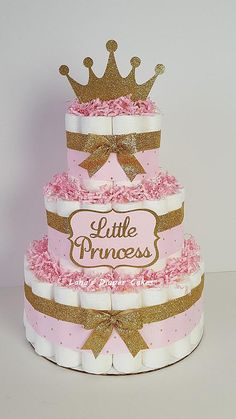 3 Tier Pink & Gold Litttle Princess diaper Cake Girl Baby