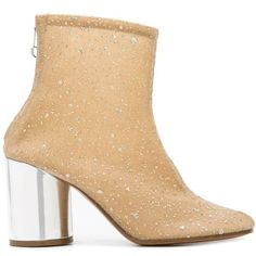 Maison Margiela glitter embellished boots (€930) ❤ liked on Polyvore featuring shoes, boots, nude ankle boots, bootie shoes, bootie boots, maison margiela shoes and block heel boots