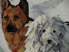 "close up, ""Snow Buddies"" art quilt by Ruth Powers"