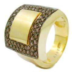 Anel Folheado A Ouro Cravejado Com Zirconias Semi-joia - Rivera Jóias