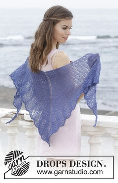 High tide / DROPS - free knitting patterns by DROPS design Knitted cloth with lace pattern and wave pattern. The piece is worked from the top down in DROPS Lace. Record of Knittin. Shawl Patterns, Baby Knitting Patterns, Lace Knitting, Crochet Patterns, Drops Design, Knitted Shawls, Shawls And Wraps, High Tide, Wave Pattern