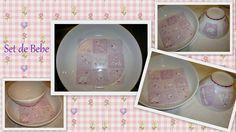 Set de bebe - Pintura sobre porcelana