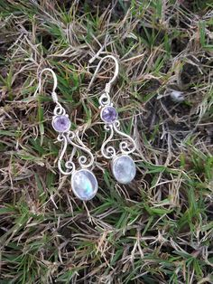 Rainbow Moonstone & Amethyst Earring Silver Earring June Birthstone Boho Earring Vintage Earring Bridal Gift for Her Engagement Earring Gift Moonstone Earrings, Amethyst Gemstone, Rainbow Moonstone, Bridal Earrings, Boho Earrings, Vintage Earrings, June Birth Stone, Sterling Silver Pendants, Etsy