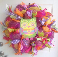 Summertime Bright Owl Decomesh Wreath on Etsy, $75.00