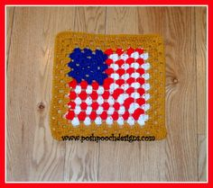 Posh Pooch Designs Dog Clothes: American Flag 12 inch Granny Square, Free Crochet Pattern