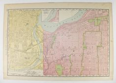 Vintage Map Boston Massachusetts Map 1900 Antique Art Map Portland