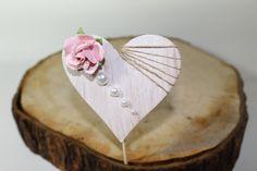Rustic Heart & Pearl Cake Topper - Pink Paper rose - burlap- pearls