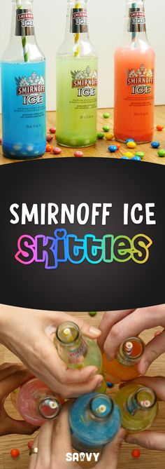 Soon you'll be tasting the rainbow! These Smirnoff Ice Skittle Bombs are a fun way to add some f Fruity Alcohol Drinks, Easy Alcoholic Drinks, Candy Drinks, Alcholic Drinks, Drinks Alcohol Recipes, Liquor Drinks, Drink Recipes, Alcohol Candy, Fruity Mixed Drinks