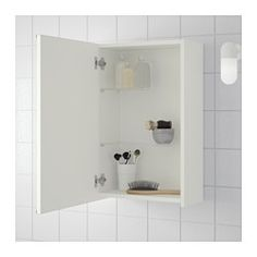 IKEA - LILLÅNGEN, Mirror cabinet with 1 door, white, , The mirror comes with safety film on the back, which reduces the risk of injury if the glass is broken.