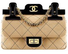 Chanel Sac en veau velours surpiqué, plexiglas et métal doré