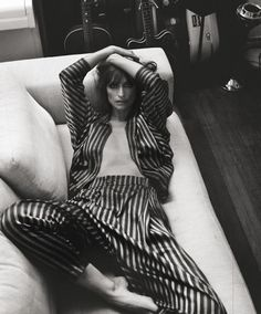 { the style counsel } The Parisian model and music producer Caroline de Maigret wears a Damir Doma Resort 2013 silk striped suit in RUSSH MAGAZINE (Australia). Damir Doma, Looks Style, My Style, Berlin Design, Model Test, Mode Editorials, Insta Look, Mode Inspiration, White Fashion