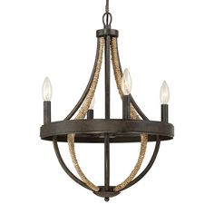 $359.99 Lowes - Quoizel Pembroke 19.25-in 4-Light Tarnished Bronze Rustic Candle Chandelier