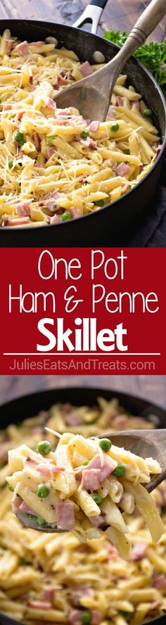 One Pot Ham & Penne Skillet Recipe ~ Delicious Pasta Perfect for a Quick Dinner! Loaded with Ham, Penne and Peas!