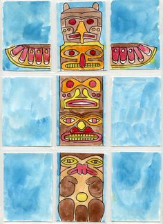 I love how trading card sleeves allow for some puzzle-like layouts, so I've made a template that lets students create their own totem pole. Native American Projects, Native American Totem, Totem Poles For Kids, Totem Pole Art, Canadian Art, Native Canadian, 3rd Grade Art, My Art Studio, Thinking Day