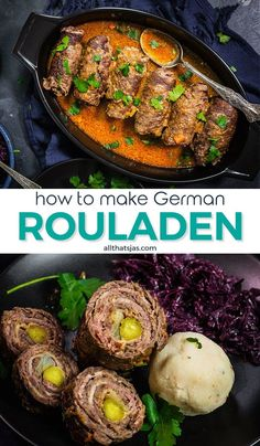 6 reviews · 40 minutes · Gluten free · Serves 6 · These hearty, traditional German beef roll-ups with pickles, onions, and bacon are the ultimate comfort meal. Instant pot and slow cooker instructions! | allthatsjas.com | #beef #rollups #german… More Rouladen Recipe, Beef Rouladen, Lamb Recipes, Bacon Recipes, Cooker Recipes, Steak Roll Ups, Top Round Steak, Recipe For Mom, Recipe Box