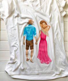 Hand painted tshirt Pair print Cotton tshirt Funny tshirt Graphic tee Fashion tee Design tshirt Cute tshirt Handmade tee Painted clothing by MarybooART on Etsy