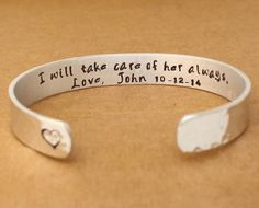 Mother of the Groom Gift - Mother of the Bride Gift - I Will Take Care of Her Always  -  Sterling Silver Bangle, Cuff - Personalized