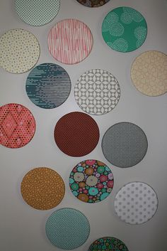 Fabric covered cork board wall pic 2 by B's Modern Quilting, via Flickr