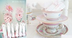First tea party...Pink, white and touches of gold for this tea party table...vintage tea cups where used