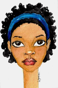 Brianna McCarthy Illustration - Karen - afro hair - postcard