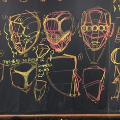 Heads. I'm feeling modest because there are lots of great portrait artists on Instagram, but here's my contribution anyway. Top left, pinning the face on the head shape, middle, the head is an organic box with rounded edges and corners, right, it's 5 eyeballs wide. The two diagrams on the bottom are about finding the angle of the forehead and the placement of the chin. For my Inventive Drawing class at ArtCenter in Pasadena, CA. Also, if you're interested in financing a college education…