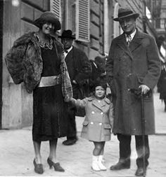 F. Scott Fitzgerald visiting Paris in the 1920's with his wife Zelda, and their daughter Scottie.