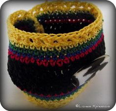 ON SALE African Inspired Crochet Cuff by LionessXpressions on Etsy, $22.50