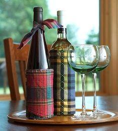 Embalagem de tecido para garrafas de vinho