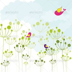 Colorful Birds Green Floral  #GraphicRiver         Vector Colorful Birds Green Floral. Zip file contains fully editable EPS10 vector file and high resolution RGB Jpeg image.     Created: 1October12 GraphicsFilesIncluded: JPGImage #VectorEPS Layered: No MinimumAdobeCSVersion: CS Tags: abstract #background #bird #blue #cloud #colorful #dandelion #drawing #floral #flower #green #greetingcard #illustration #love #nature #pink #season #seasonal #sky #spring #springtime #style #summer #wallpaper