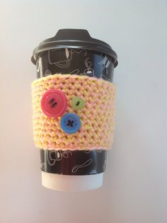Yellow and pink Crocheted coffee cozy with 3 by artistik1979, $2.00