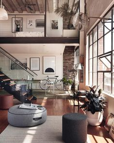 Inspired Image of Loft Home Design. A great deal of lofts have brick walls and therefore it could be somewhat difficult to hang any form of picture or mirror. A loft is not going to have. Deco Design, Design Case, Design Design, Design Homes, Lobby Design, Sketch Design, Design Shop, Paris Design, Studio Design