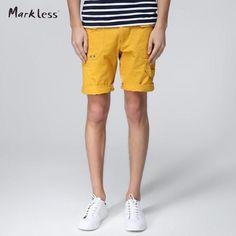 FuzWeb:Markless Shorts Men Summer 100% Cotton Shorts Male Casual Yellow Blue Short Pants Summer Man Clothes